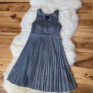 Max and Cleo Silver Metallic Empire Waist Pleated Dress Size 4